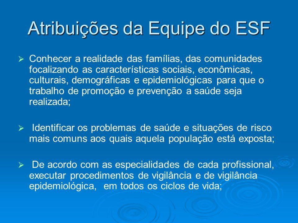 Atribuições da Equipe do ESF Conhecer a realidade das famílias, das comunidades focalizando as características sociais, econômicas, culturais, demográ