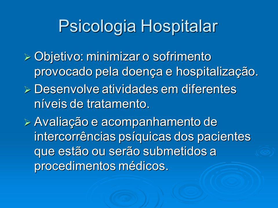 Psicologia Hospitalar Objetivo: minimizar o sofrimento provocado pela doença e hospitalização. Objetivo: minimizar o sofrimento provocado pela doença