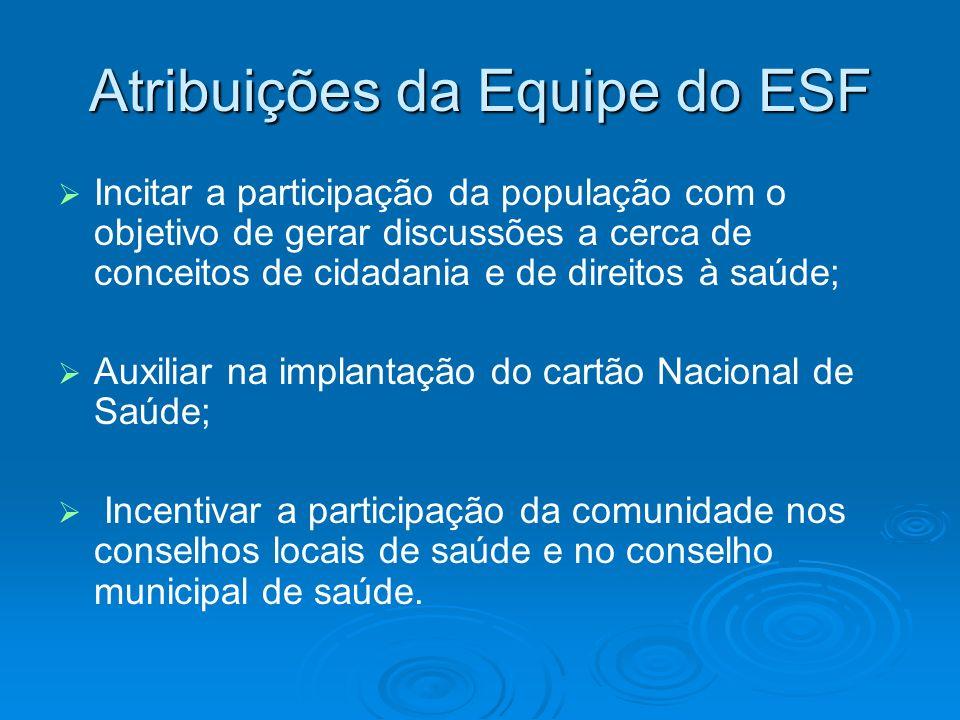 Atribuições da Equipe do ESF Incitar a participação da população com o objetivo de gerar discussões a cerca de conceitos de cidadania e de direitos à