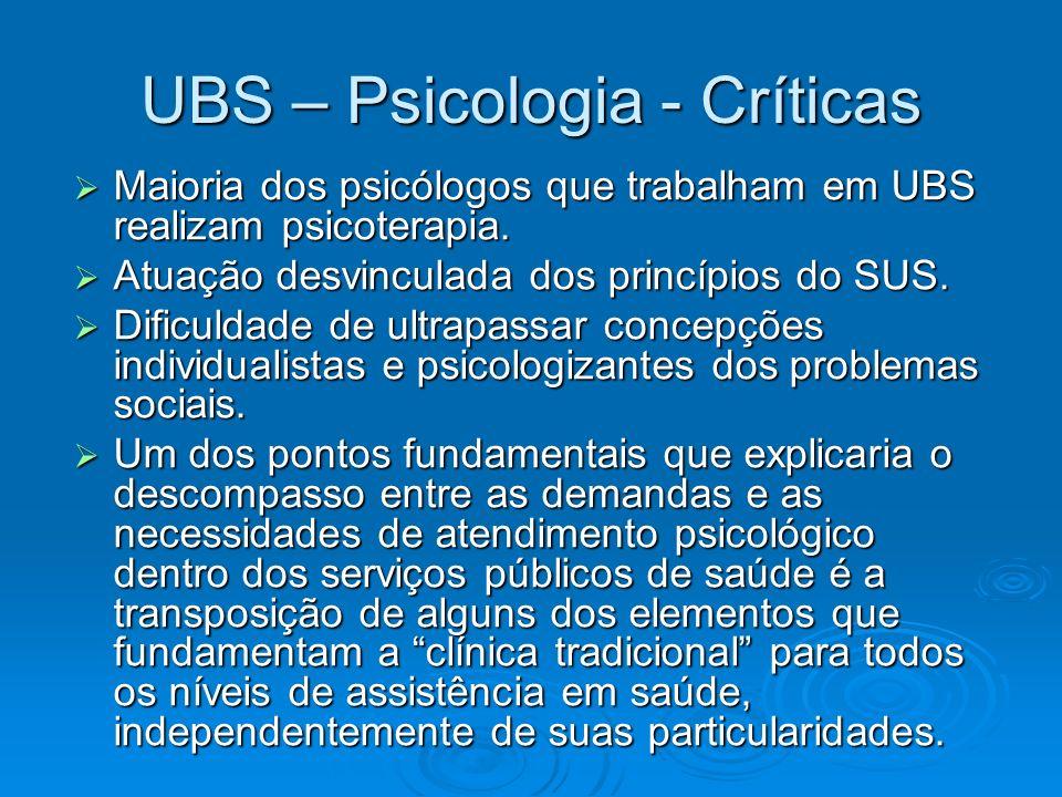 UBS – Psicologia - Críticas Maioria dos psicólogos que trabalham em UBS realizam psicoterapia. Maioria dos psicólogos que trabalham em UBS realizam ps