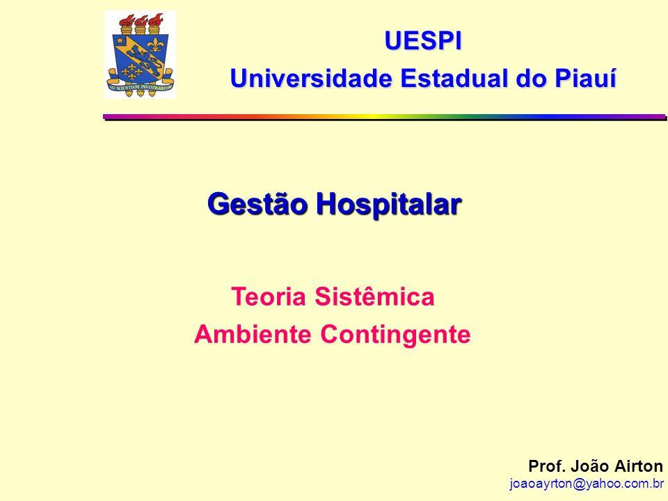 Prof. João Airton joaoayrton@yahoo.com.br Teoria Sistêmica Ambiente Contingente Gestão Hospitalar UESPI Universidade Estadual do Piauí