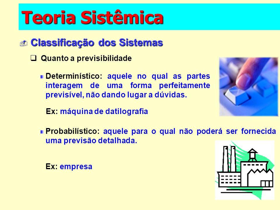 Teoria Sistêmica Classificação dos Sistemas Classificação dos Sistemas Determinístico: aquele no qual as partes interagem de uma forma perfeitamente p