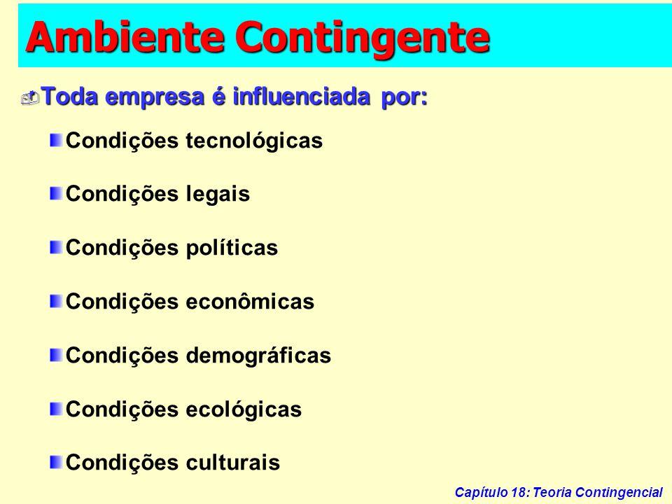 Capítulo 18: Teoria Contingencial Ambiente Contingente Condições tecnológicas Condições legais Condições políticas Condições econômicas Condições demo