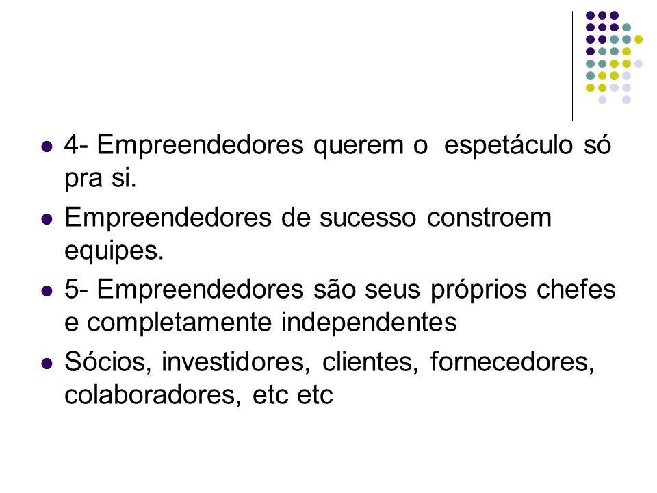 4- Empreendedores querem o espetáculo só pra si. Empreendedores de sucesso constroem equipes. 5- Empreendedores são seus próprios chefes e completamen