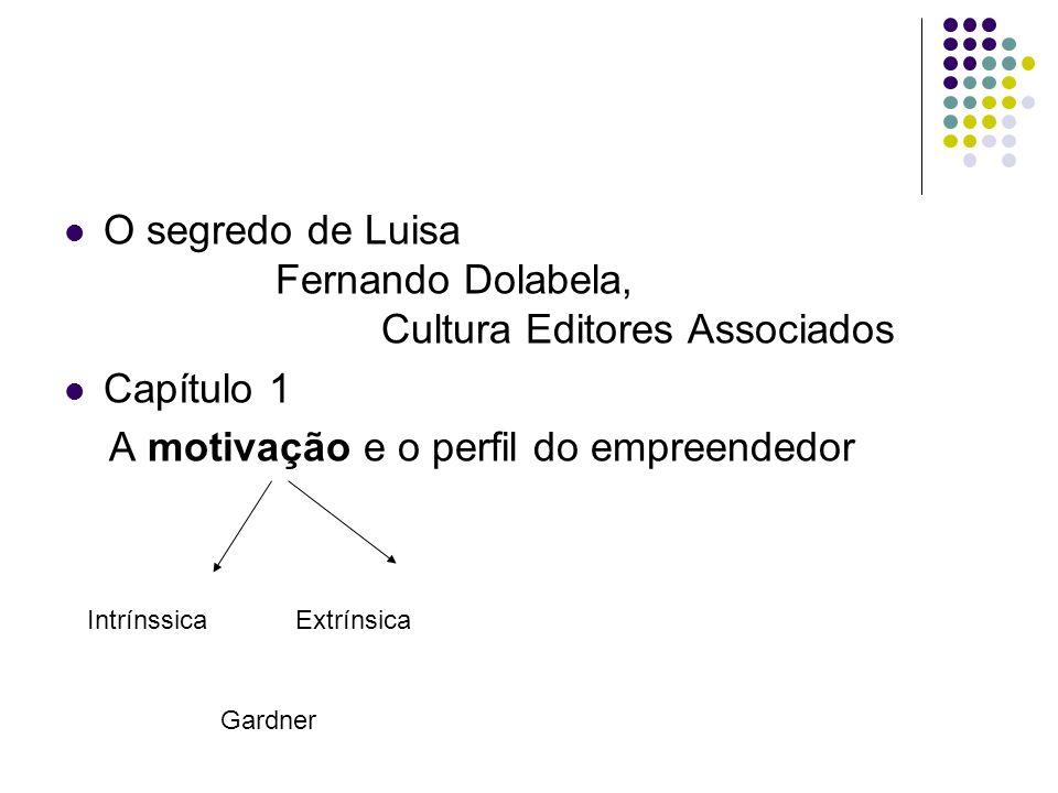 O segredo de Luisa Fernando Dolabela, Cultura Editores Associados Capítulo 1 A motivação e o perfil do empreendedor IntrínssicaExtrínsica Gardner