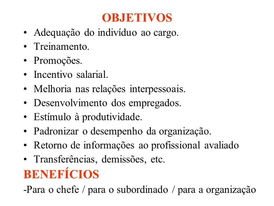 OBJETIVOS Adequação do indivíduo ao cargo. Treinamento. Promoções. Incentivo salarial. Melhoria nas relações interpessoais. Desenvolvimento dos empreg