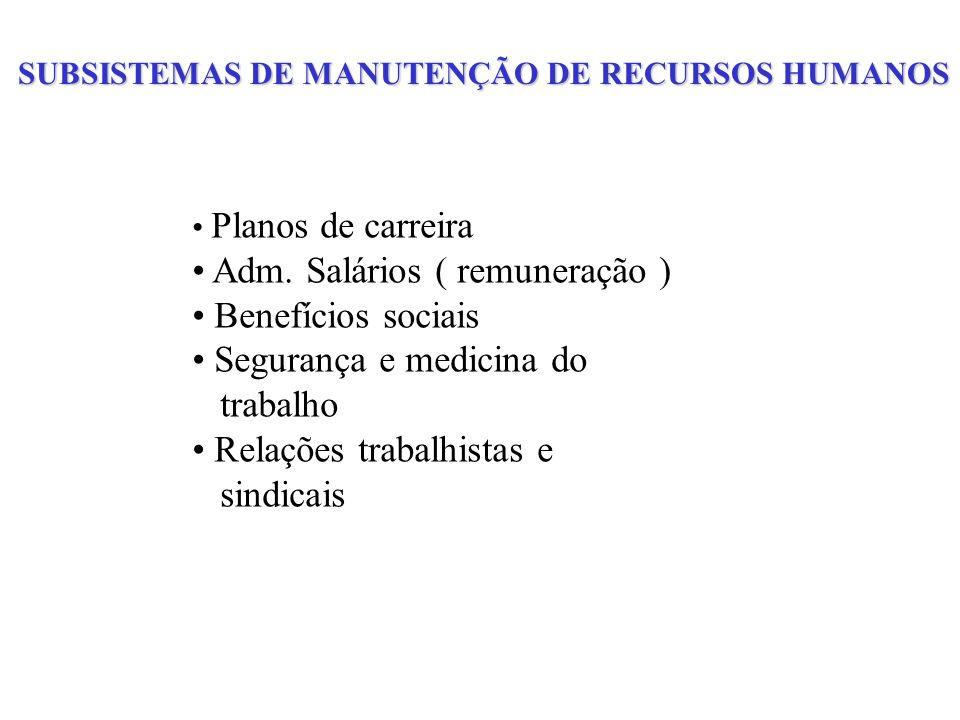 SUBSISTEMAS DE MANUTENÇÃO DE RECURSOS HUMANOS Planos de carreira Adm. Salários ( remuneração ) Benefícios sociais Segurança e medicina do trabalho Rel