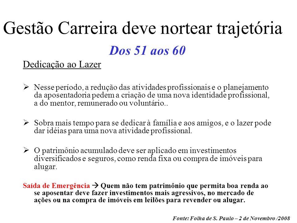Gestão Carreira deve nortear trajetória Dos 51 aos 60 Dedicação ao Lazer Nesse período, a redução das atividades profissionais e o planejamento da apo