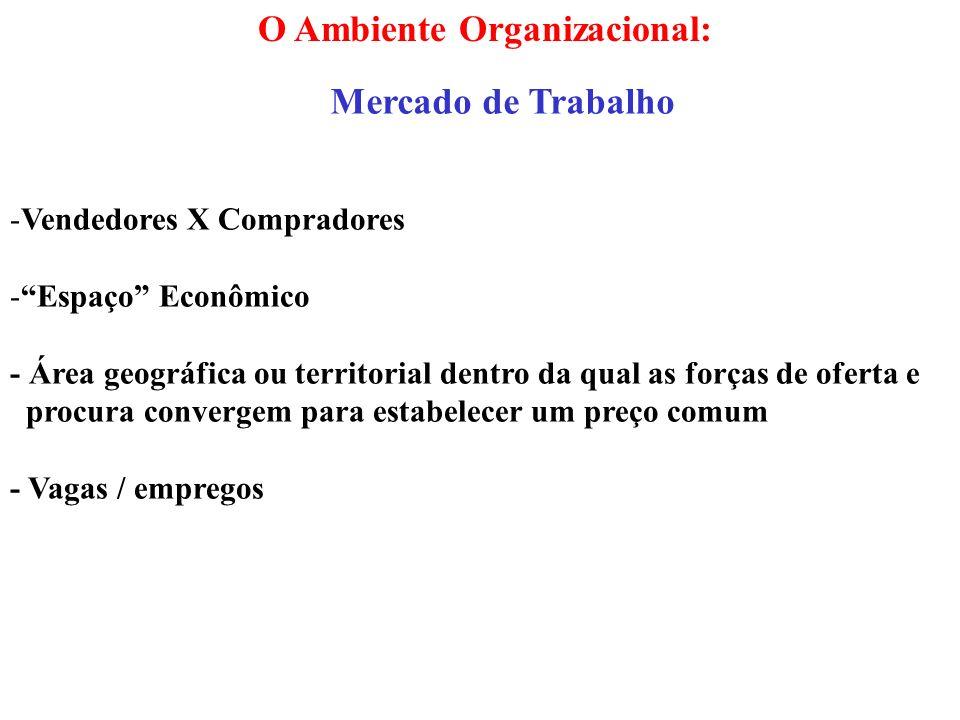 O Ambiente Organizacional: Mercado de Trabalho -Vendedores X Compradores -Espaço Econômico - Área geográfica ou territorial dentro da qual as forças d