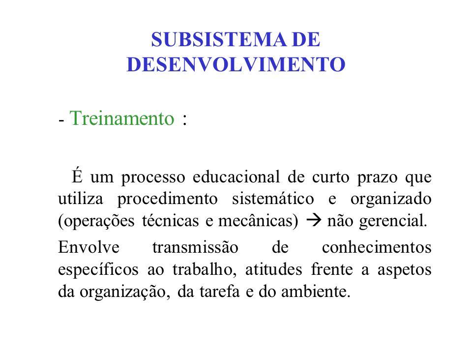 SUBSISTEMA DE DESENVOLVIMENTO - Treinamento : É um processo educacional de curto prazo que utiliza procedimento sistemático e organizado (operações té