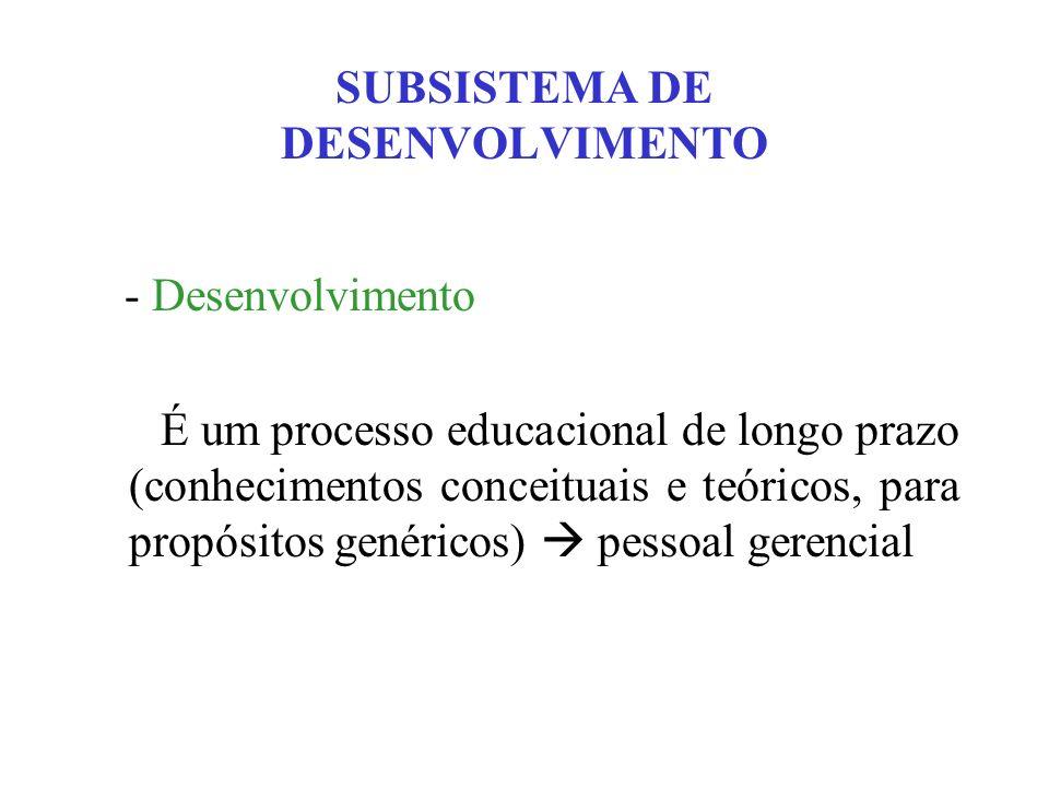 SUBSISTEMA DE DESENVOLVIMENTO - Desenvolvimento É um processo educacional de longo prazo (conhecimentos conceituais e teóricos, para propósitos genéri