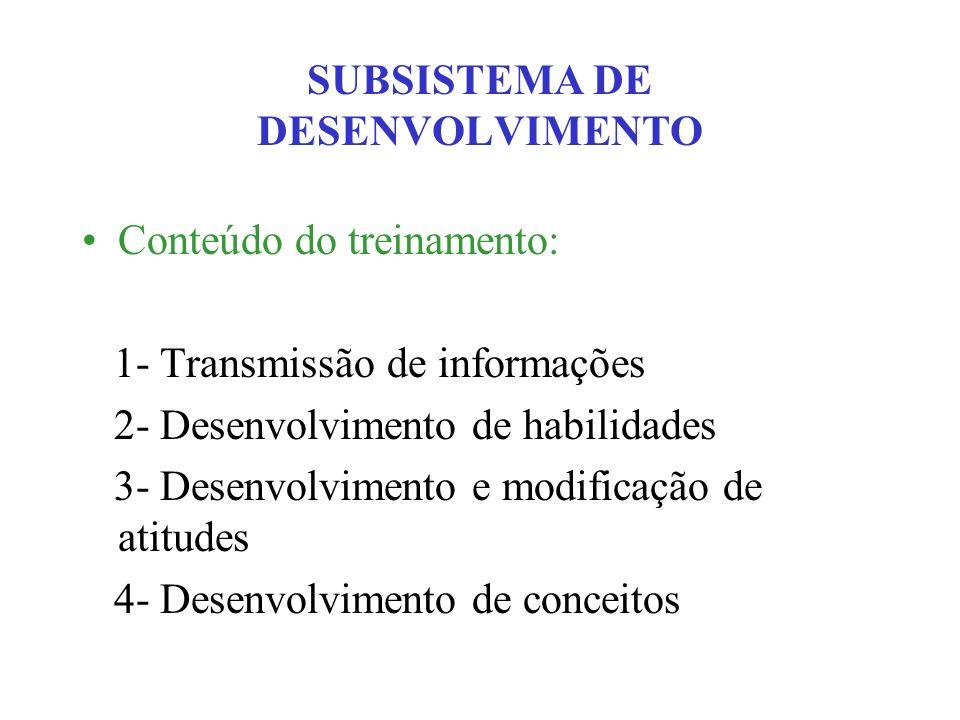 SUBSISTEMA DE DESENVOLVIMENTO Conteúdo do treinamento: 1- Transmissão de informações 2- Desenvolvimento de habilidades 3- Desenvolvimento e modificaçã