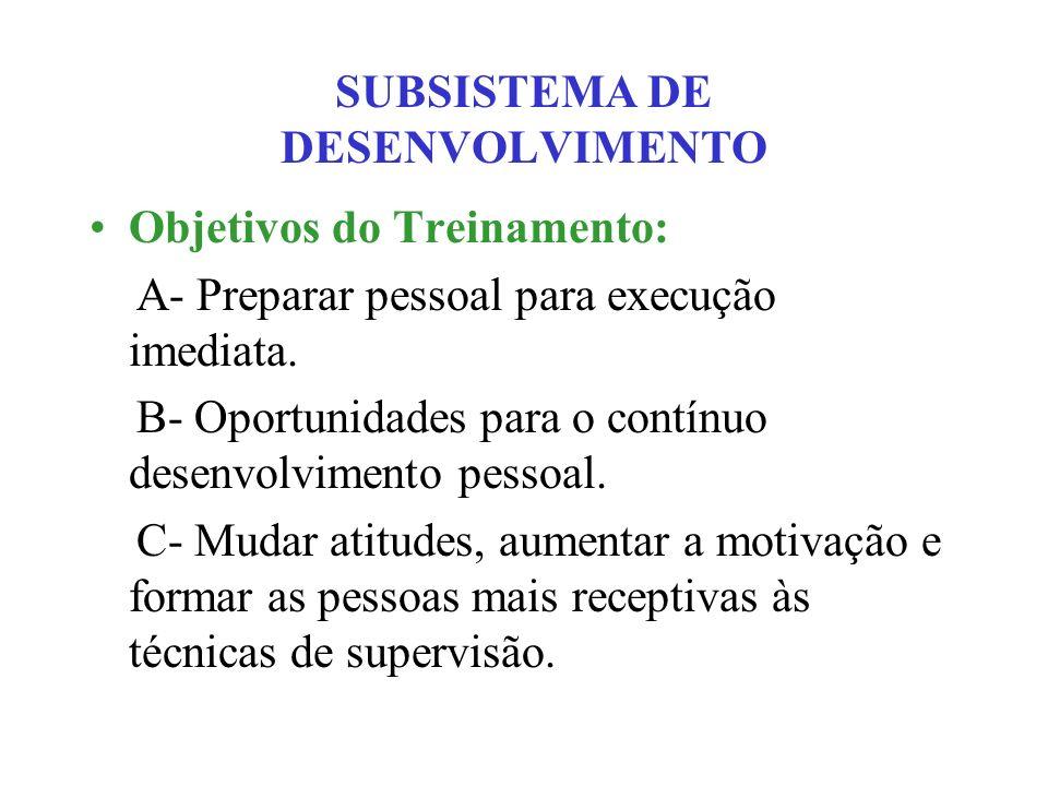 SUBSISTEMA DE DESENVOLVIMENTO Objetivos do Treinamento: A- Preparar pessoal para execução imediata. B- Oportunidades para o contínuo desenvolvimento p