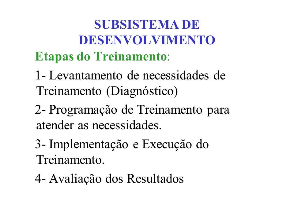 SUBSISTEMA DE DESENVOLVIMENTO Etapas do Treinamento: 1- Levantamento de necessidades de Treinamento (Diagnóstico) 2- Programação de Treinamento para a