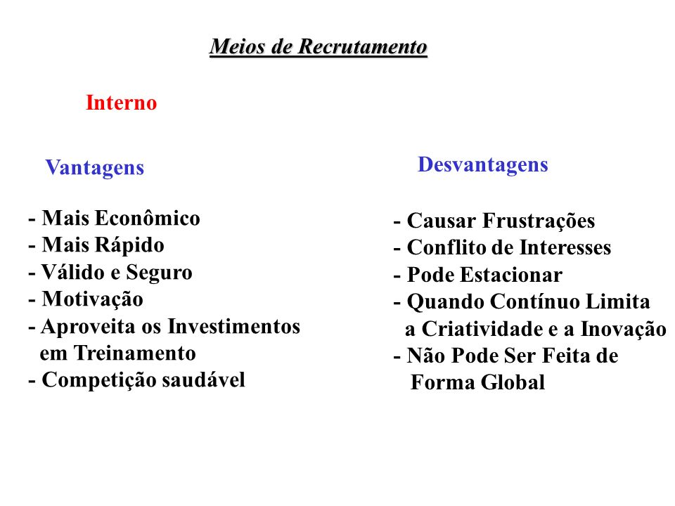 Meios de Recrutamento Interno Vantagens Desvantagens - Mais Econômico - Mais Rápido - Válido e Seguro - Motivação - Aproveita os Investimentos em Trei