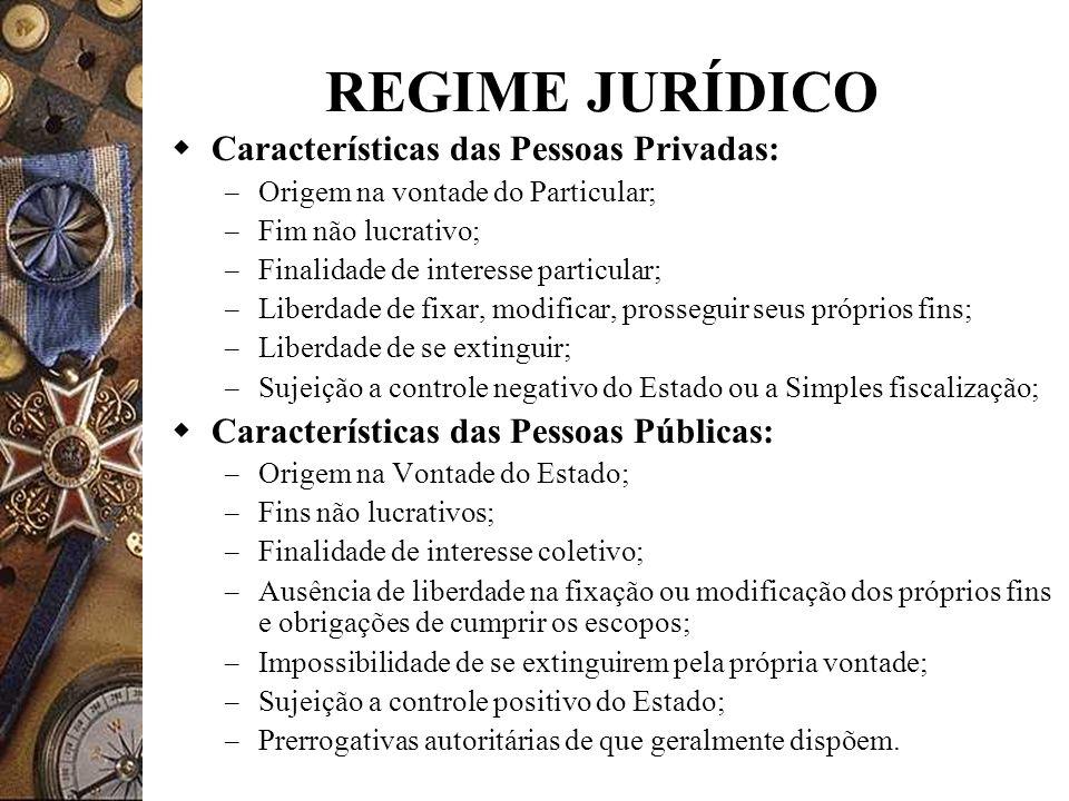 REGIME JURÍDICO Características das Pessoas Privadas: – Origem na vontade do Particular; – Fim não lucrativo; – Finalidade de interesse particular; –