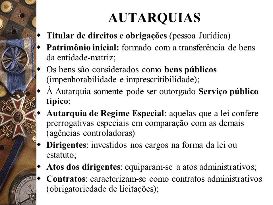 AUTARQUIAS Titular de direitos e obrigações (pessoa Jurídica) Patrimônio inicial: formado com a transferência de bens da entidade-matriz; Os bens são