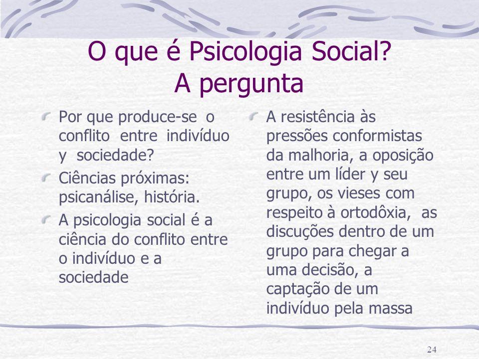 23 O que é Psicologia Social? O individuo só existe dentro da rede social e toda sociedade se compõe de uma multitude de individuos diversos. Em cada