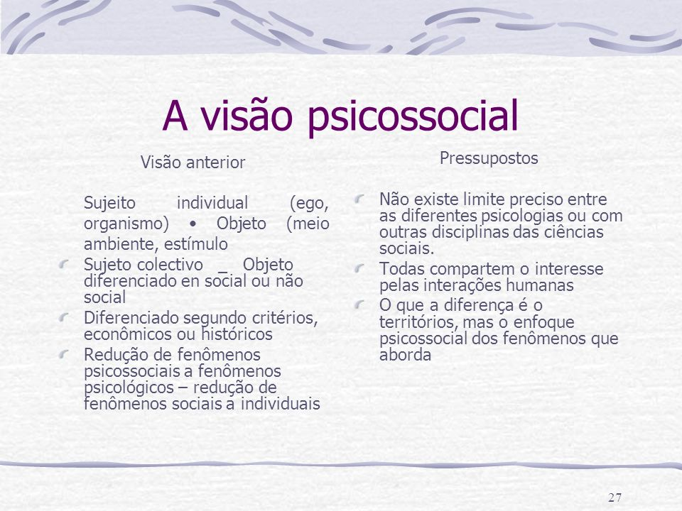 26 Definição de Psicologia social A psicologia social é a ciência dos fenômenos da ideologia (cognições e representações sociais) e dos fenômenos de c