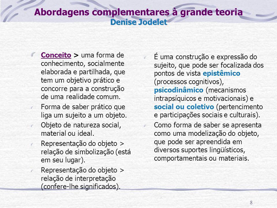 8 Denise Jodelet Abordagens complementares à grande teoria Denise Jodelet Conceito > uma forma de conhecimento, socialmente elaborada e partilhada, que tem um objetivo prático e concorre para a construção de uma realidade comum.