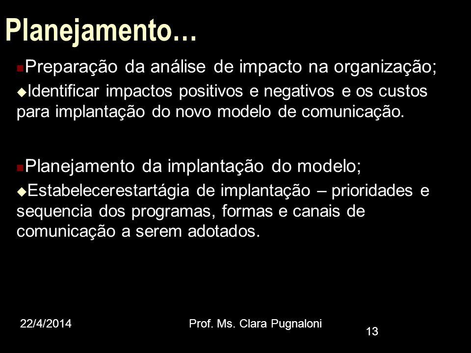 Planejamento… Preparação da análise de impacto na organização; Identificar impactos positivos e negativos e os custos para implantação do novo modelo