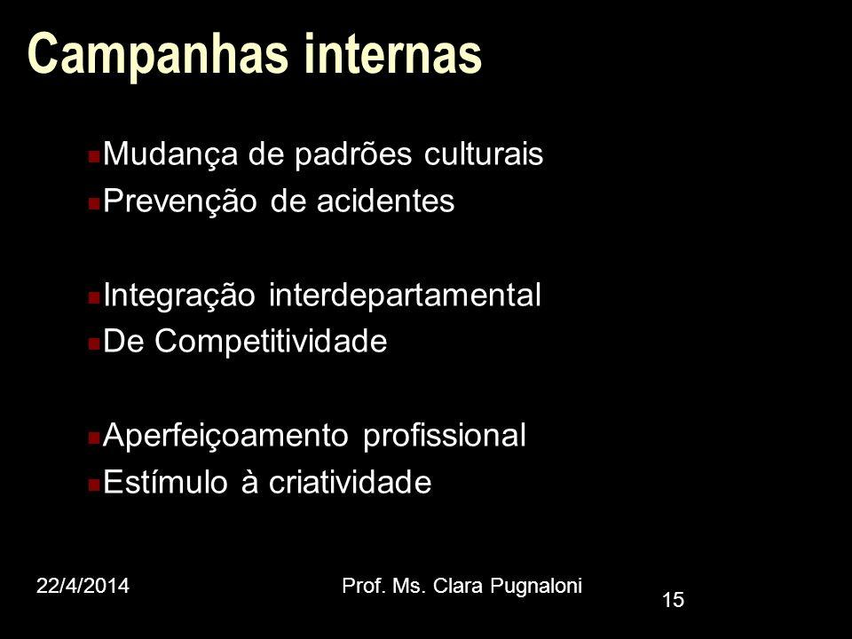 Campanhas internas Mudança de padrões culturais Prevenção de acidentes Integração interdepartamental De Competitividade Aperfeiçoamento profissional E