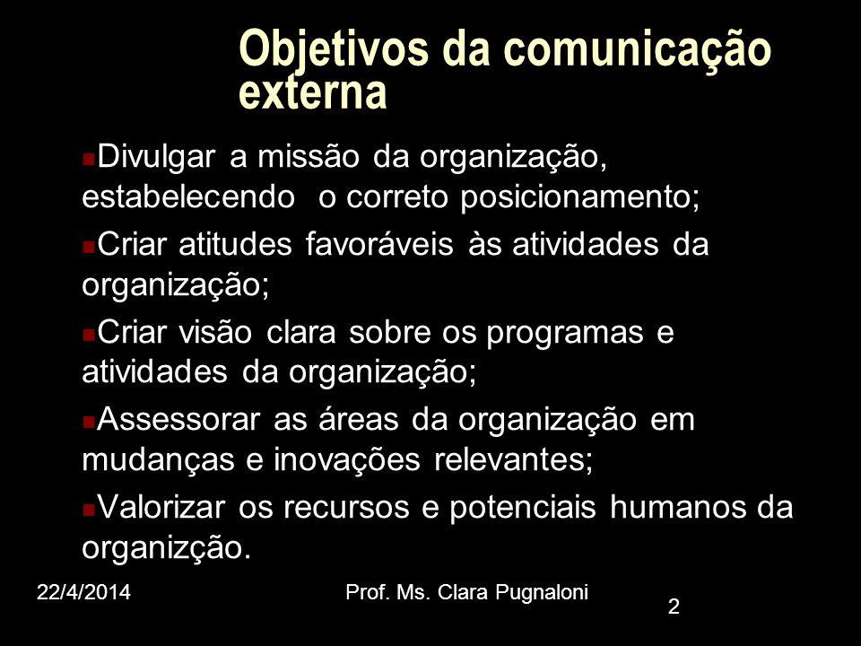 Objetivos da comunicação externa Divulgar a missão da organização, estabelecendo o correto posicionamento; Criar atitudes favoráveis às atividades da
