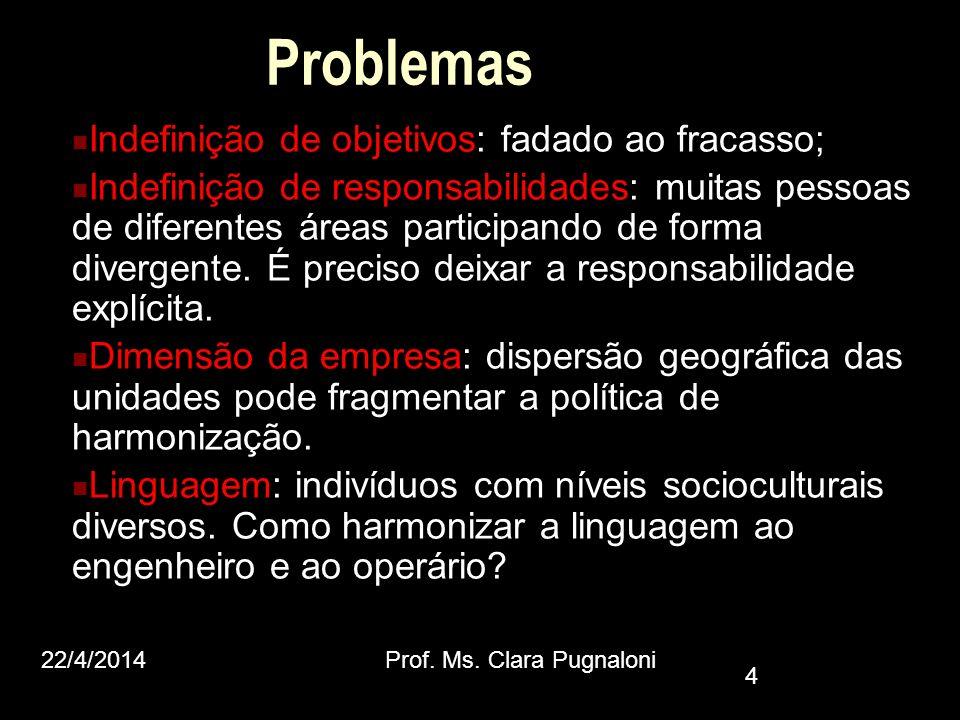 Problemas Indefinição de objetivos: fadado ao fracasso; Indefinição de responsabilidades: muitas pessoas de diferentes áreas participando de forma div