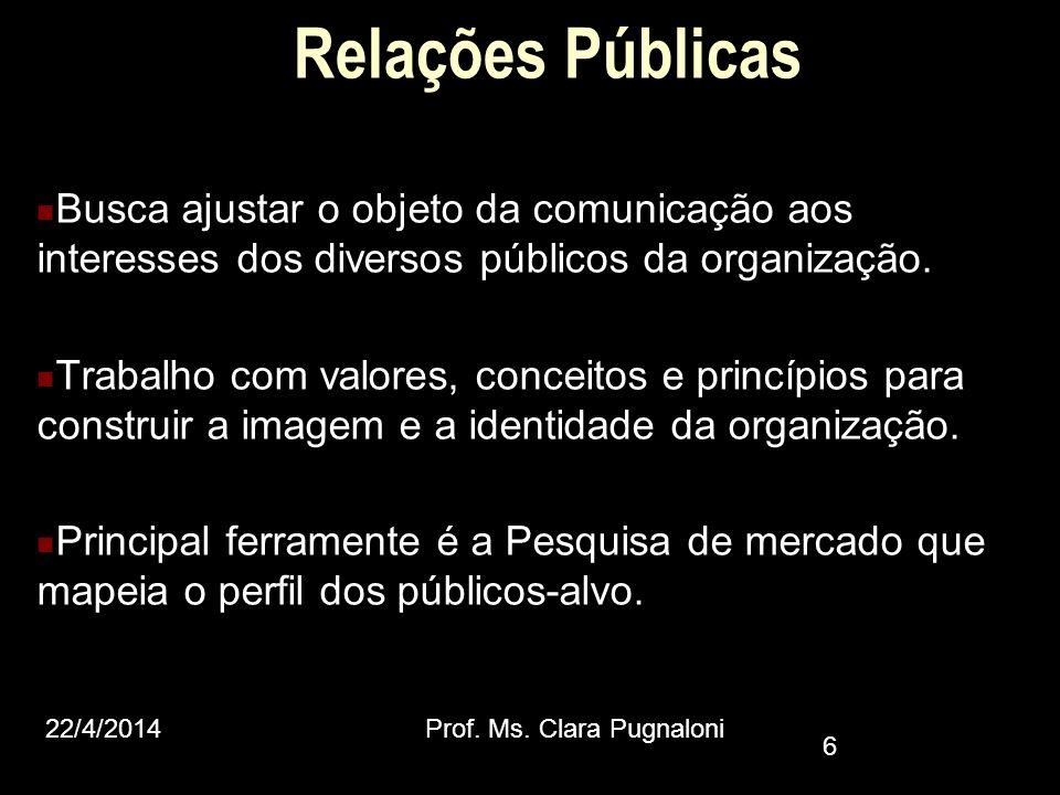 Relações Públicas Busca ajustar o objeto da comunicação aos interesses dos diversos públicos da organização. Trabalho com valores, conceitos e princíp