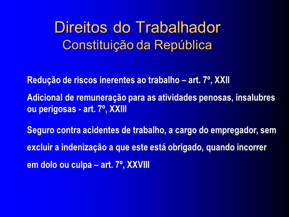 Direitos do Trabalhador Constituição da República Redução de riscos inerentes ao trabalho – art.