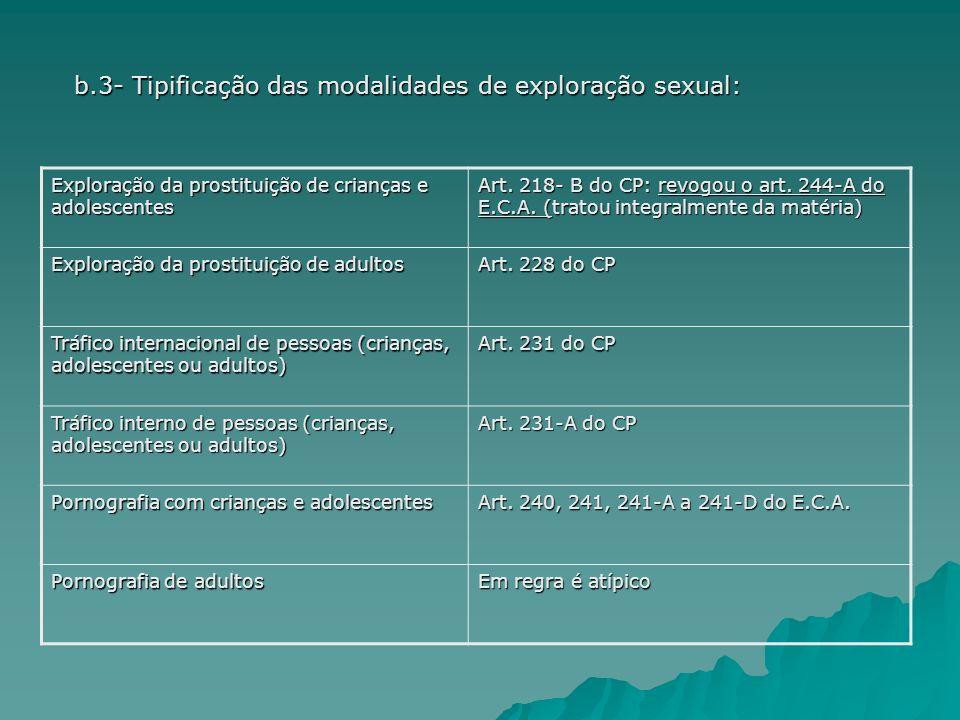 Exploração da prostituição de crianças e adolescentes Art. 218- B do CP: revogou o art. 244-A do E.C.A. (tratou integralmente da matéria) Exploração d