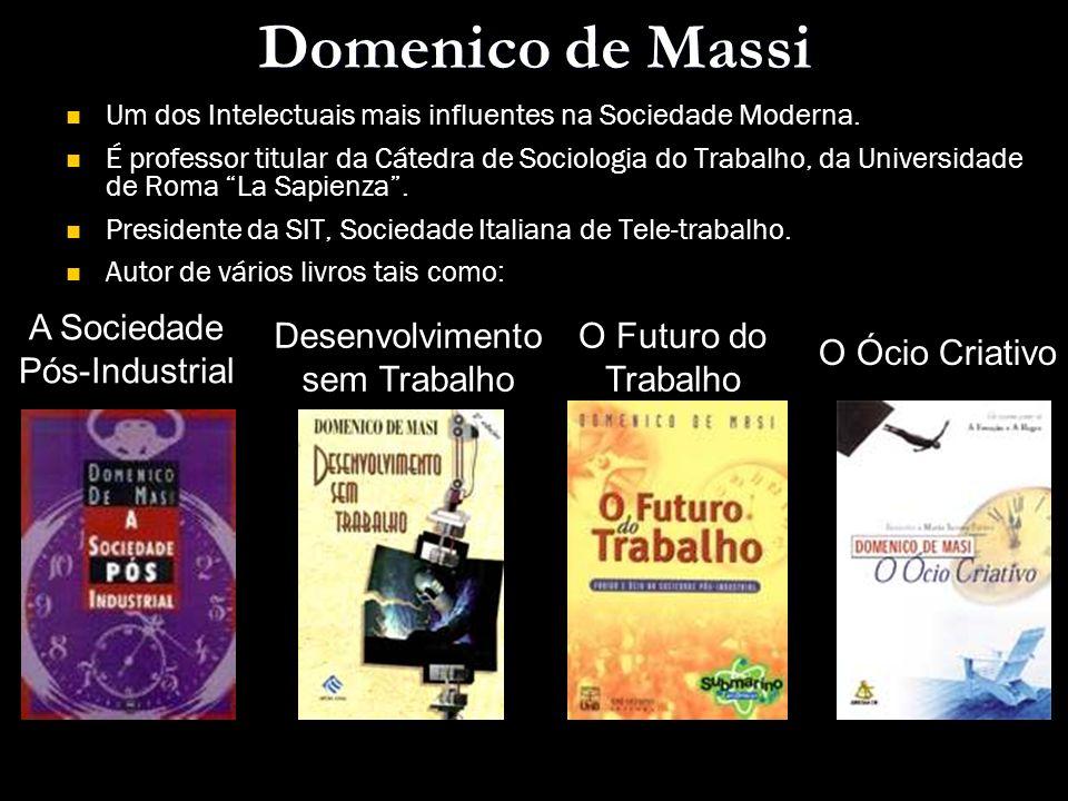 Domenico de Massi Um dos Intelectuais mais influentes na Sociedade Moderna. É professor titular da Cátedra de Sociologia do Trabalho, da Universidade