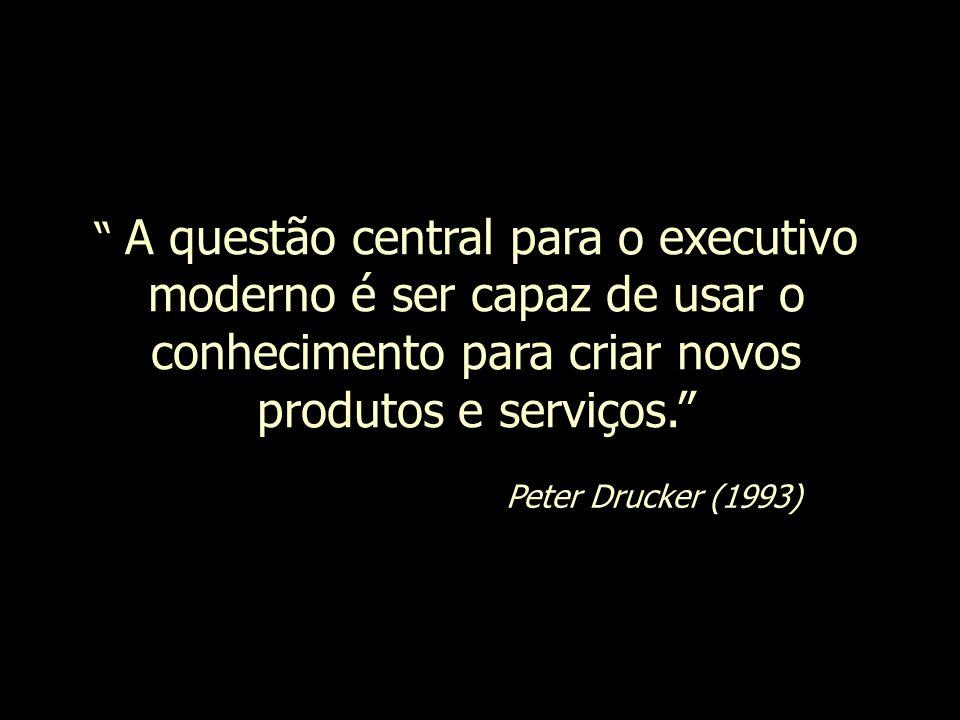 A questão central para o executivo moderno é ser capaz de usar o conhecimento para criar novos produtos e serviços. Peter Drucker (1993)