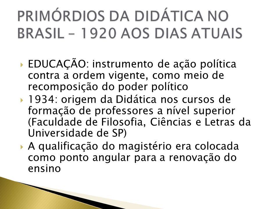 EDUCAÇÃO: instrumento de ação política contra a ordem vigente, como meio de recomposição do poder político 1934: origem da Didática nos cursos de form