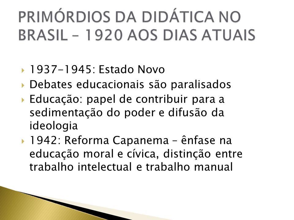 1937-1945: Estado Novo Debates educacionais são paralisados Educação: papel de contribuir para a sedimentação do poder e difusão da ideologia 1942: Re