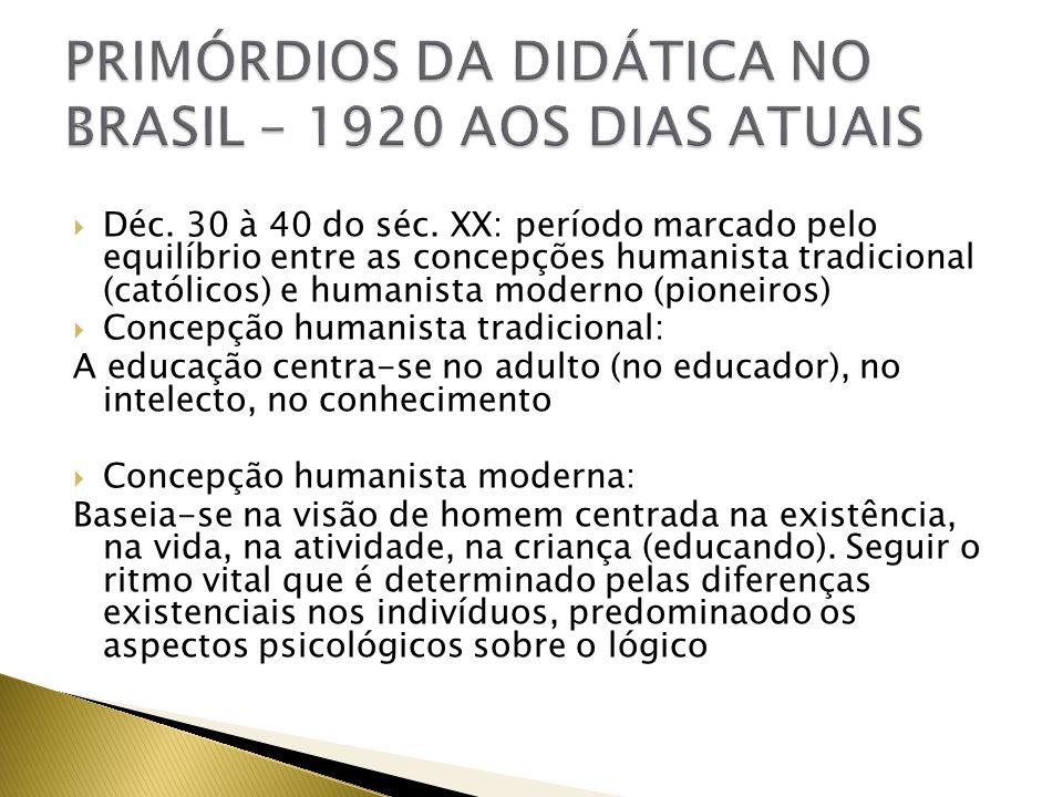 Déc. 30 à 40 do séc. XX: período marcado pelo equilíbrio entre as concepções humanista tradicional (católicos) e humanista moderno (pioneiros) Concepç
