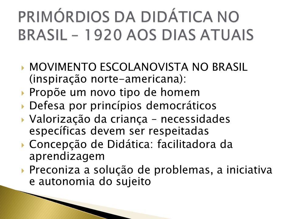 MOVIMENTO ESCOLANOVISTA NO BRASIL (inspiração norte-americana): Propõe um novo tipo de homem Defesa por princípios democráticos Valorização da criança