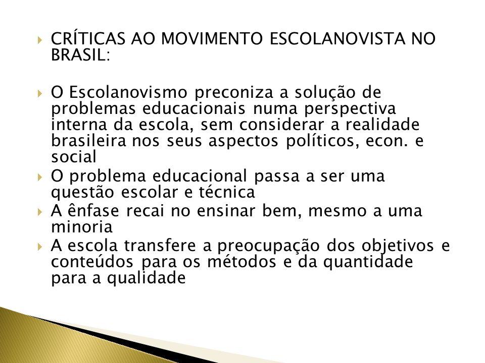 CRÍTICAS AO MOVIMENTO ESCOLANOVISTA NO BRASIL: O Escolanovismo preconiza a solução de problemas educacionais numa perspectiva interna da escola, sem c