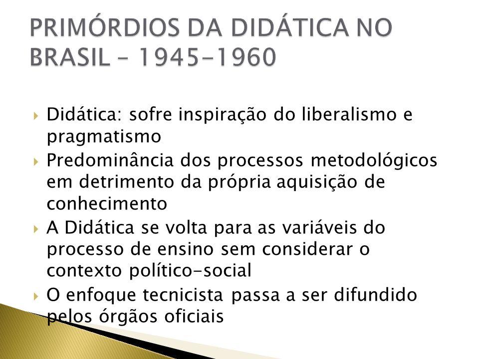 Didática: sofre inspiração do liberalismo e pragmatismo Predominância dos processos metodológicos em detrimento da própria aquisição de conhecimento A