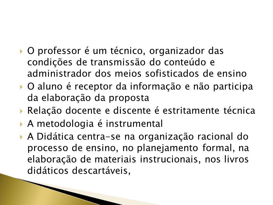 O professor é um técnico, organizador das condições de transmissão do conteúdo e administrador dos meios sofisticados de ensino O aluno é receptor da