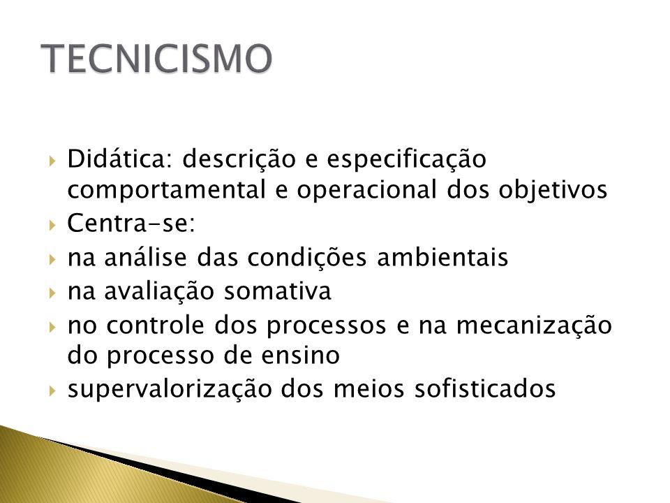 Didática: descrição e especificação comportamental e operacional dos objetivos Centra-se: na análise das condições ambientais na avaliação somativa no