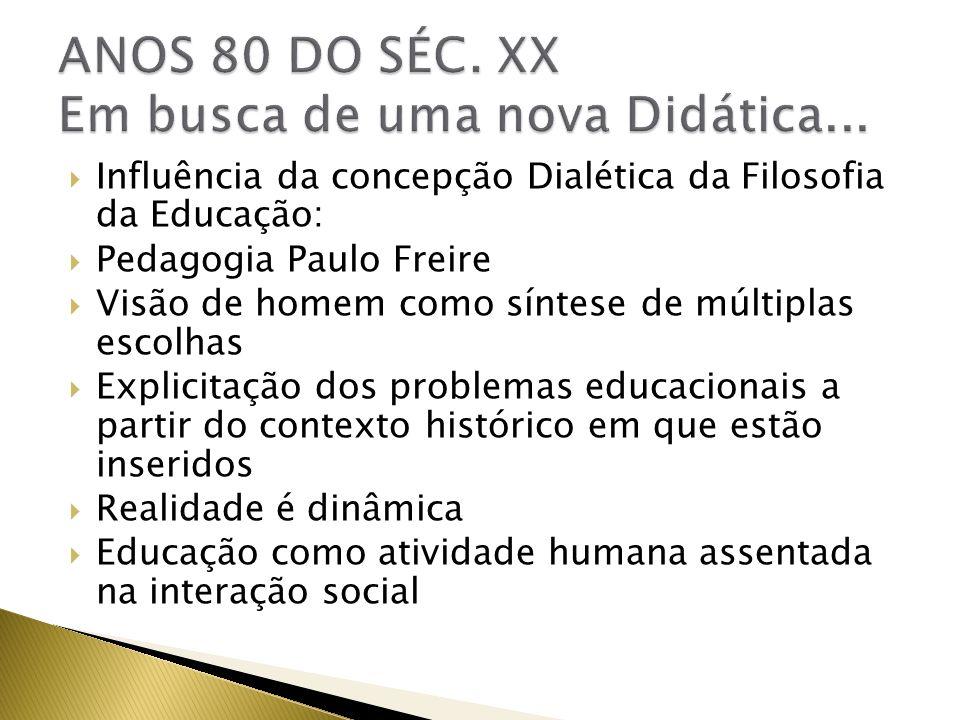 Influência da concepção Dialética da Filosofia da Educação: Pedagogia Paulo Freire Visão de homem como síntese de múltiplas escolhas Explicitação dos