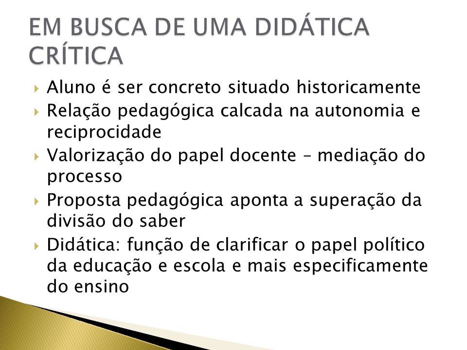 Aluno é ser concreto situado historicamente Relação pedagógica calcada na autonomia e reciprocidade Valorização do papel docente – mediação do process