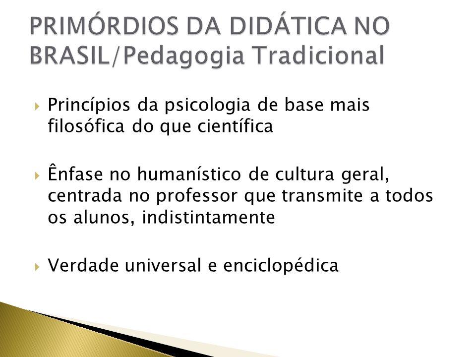 Princípios da psicologia de base mais filosófica do que científica Ênfase no humanístico de cultura geral, centrada no professor que transmite a todos