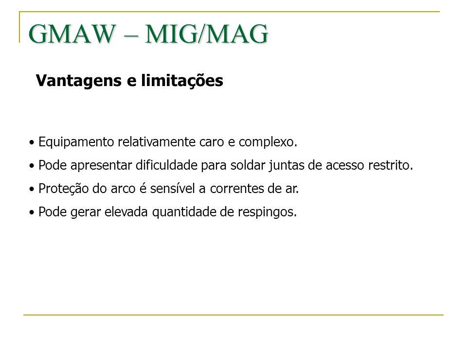 GMAW – MIG/MAG Vantagens e limitações Equipamento relativamente caro e complexo. Pode apresentar dificuldade para soldar juntas de acesso restrito. Pr