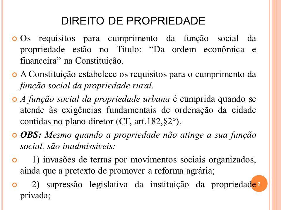 DIREITO DE PROPRIEDADE Os requisitos para cumprimento da função social da propriedade estão no Título: Da ordem econômica e financeira na Constituição
