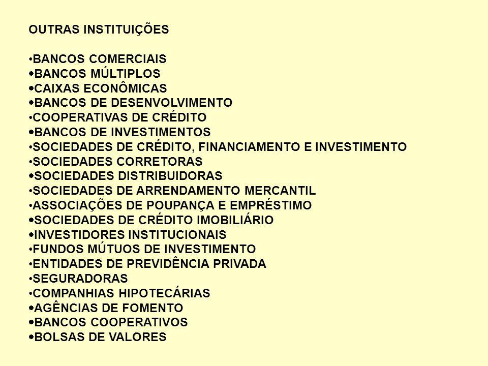 OUTRAS INSTITUIÇÕES BANCOS COMERCIAIS BANCOS MÚLTIPLOS CAIXAS ECONÔMICAS BANCOS DE DESENVOLVIMENTO COOPERATIVAS DE CRÉDITO BANCOS DE INVESTIMENTOS SOC