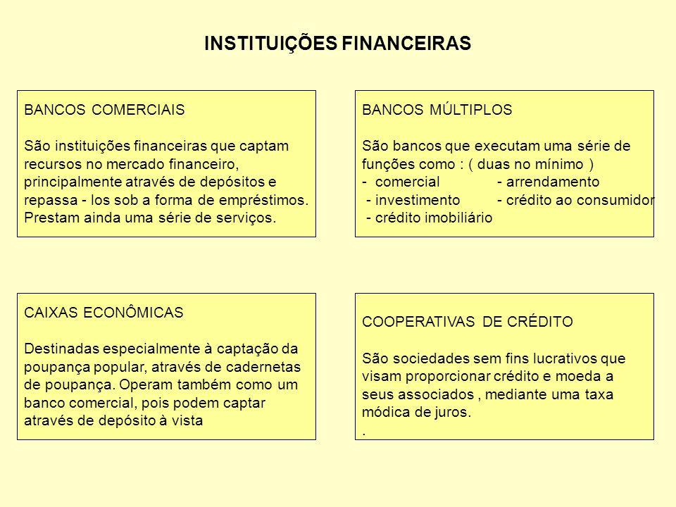 INSTITUIÇÕES FINANCEIRAS BANCOS COMERCIAIS São instituições financeiras que captam recursos no mercado financeiro, principalmente através de depósitos