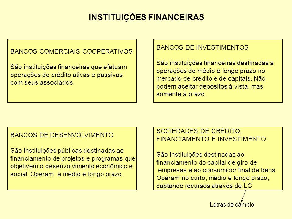 INSTITUIÇÕES FINANCEIRAS BANCOS COMERCIAIS COOPERATIVOS São instituições financeiras que efetuam operações de crédito ativas e passivas com seus assoc