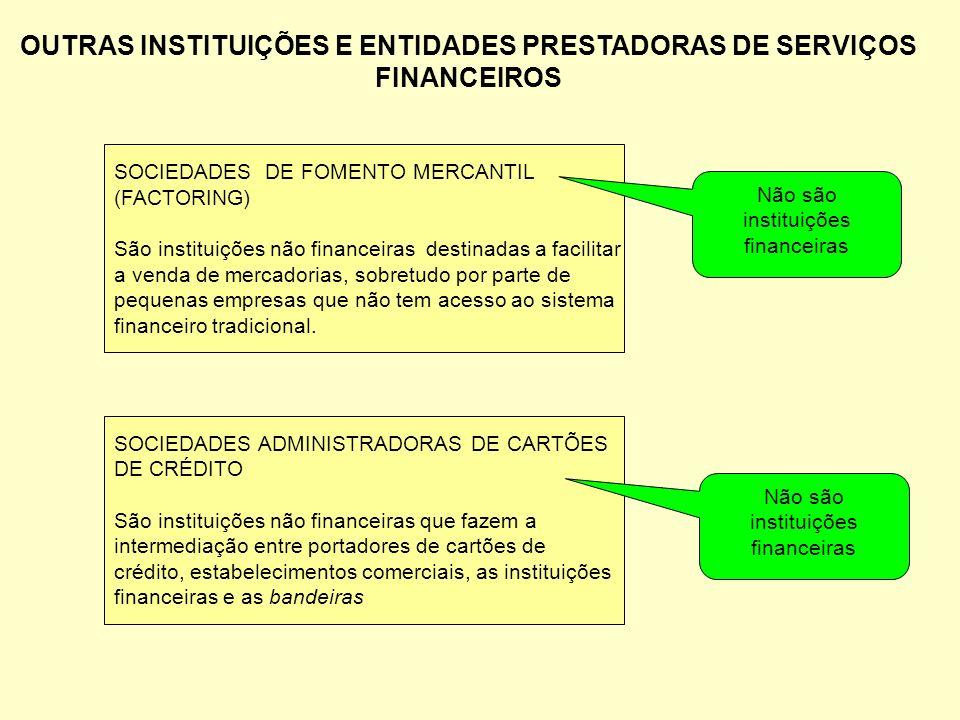 OUTRAS INSTITUIÇÕES E ENTIDADES PRESTADORAS DE SERVIÇOS FINANCEIROS SOCIEDADES ADMINISTRADORAS DE CARTÕES DE CRÉDITO São instituições não financeiras